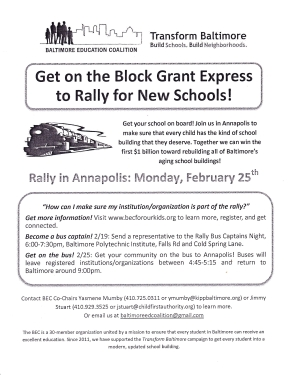 Get on the Bus Rally flier - February 2013