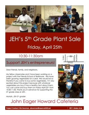 2014.04.18 5th grade plant sale